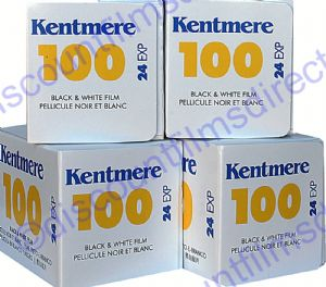 Kentmere (by Ilford) 100 35mm 24 exposure Black and White Camera Film 4  PACK SPECIAL
